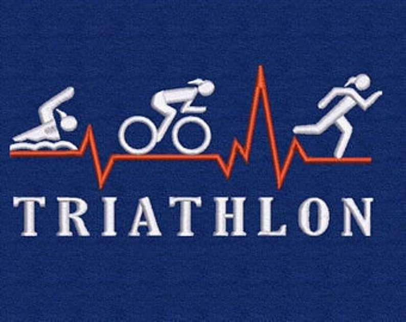 Towel embroidered triathlon female and name big image 0
