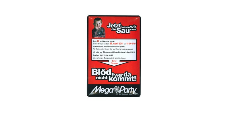 Tin Sign Invitation Birthday with Funny Text Personalizable 20 image 0