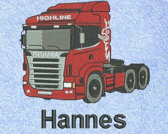 embroidered towel truck named truck Brummi semi-trailer towing vehicle means of transport in many colors and sizes