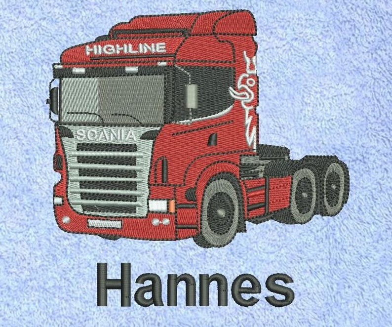 embroidered towel truck named truck Brummi semi-trailer towing image 0
