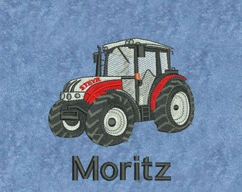 Towel Embroidered Tractor Steyr with Name Tractor Trekker Tug Farm Farmer Field Tractor, Towing Vehicle Bulldog