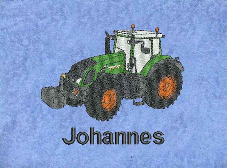 Towel Embroidered Fendt Vario with Name Tractor Trekker Tug image 0