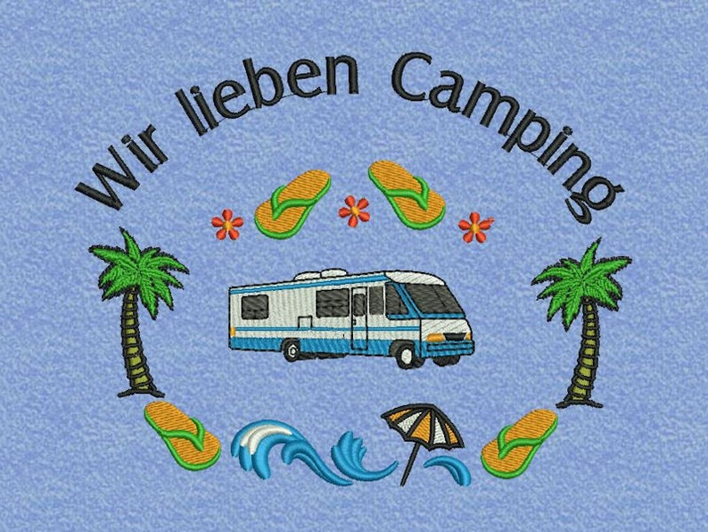 Towel Embroidered Camping image 0