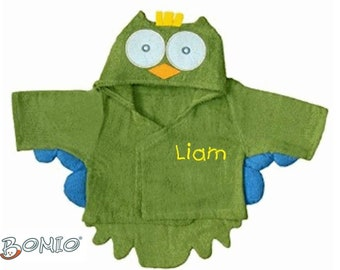 Special Price: Baby Bathrobe Owl Name Embroidered for Boys 0-12 Months Personalized