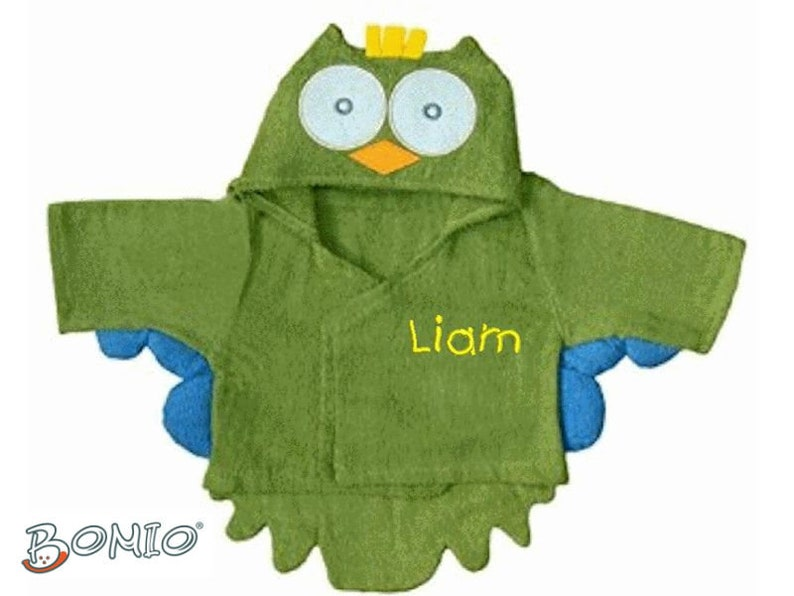 Special Price: Baby Bathrobe Owl Name Embroidered for Boys image 0
