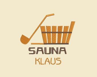 Sauna cloth embroidered with sauna vat with name customizable