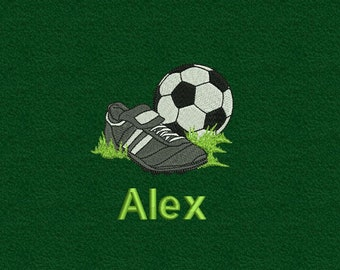 Handtuch bestickt Fußball Schuhe mit Namen Fußballspiel Fußballer Schiedsrichter Trainer Fußballplatz Ballsport Ball