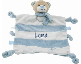 Cuddly towel bear with name boys nucescloth comforter pacifier baby bear personalized