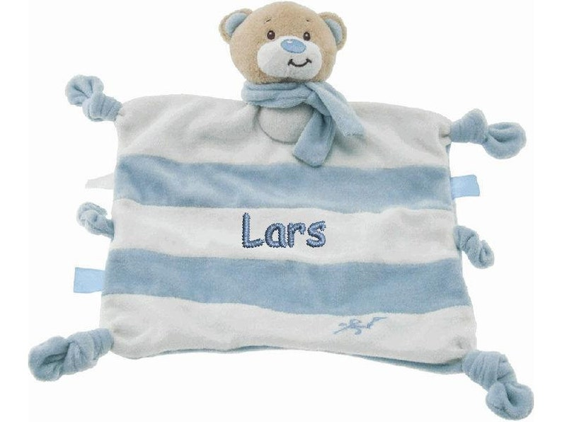 Cuddly cloth bear with name boy nuckeltuch comforter baby bear image 0
