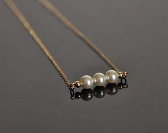 14/20 gold filled (or sterling silver) chain necklace with Swarovski pearls