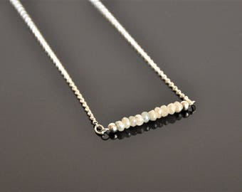 Sterling silver necklace with sapphire beads