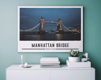 Manhattan Bridge/Famous sights poster Print