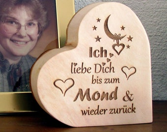 """Wooden heart with bark engraving """"I love you to the moon and back"""" Valentine's Day"""