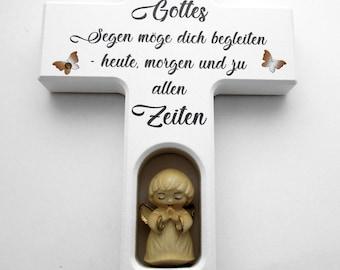 Baptismal cross, children's cross wood, crystal stones, guardian angel cross, May God's blessings you.