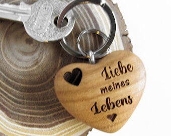 Keychain Heart Wood (Love of My Life) Valentine's Day Gift Wrapping