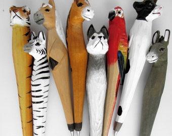 Wood ballpoint pen animal head motif