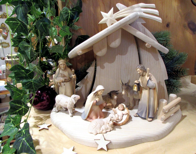 Modern nativity scene nativity figures with stable wood Figuren 8tlg+Stall