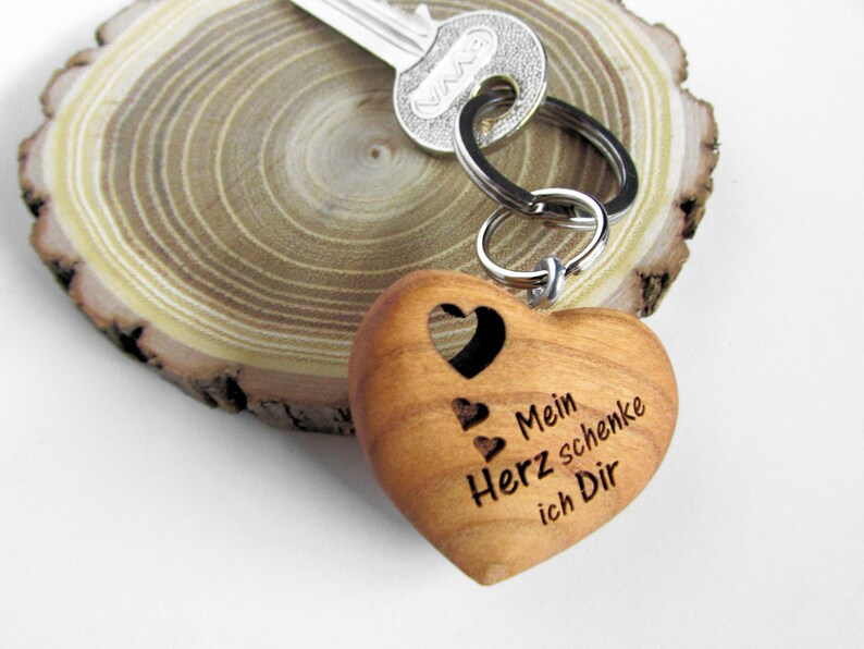 Keychain Heart Wood My Heart I Give To You image 0