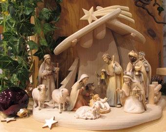 Modern crib, 12 pcs. Nativity figuresSet 10 cm wood carved, coloured glazed incl. stable,