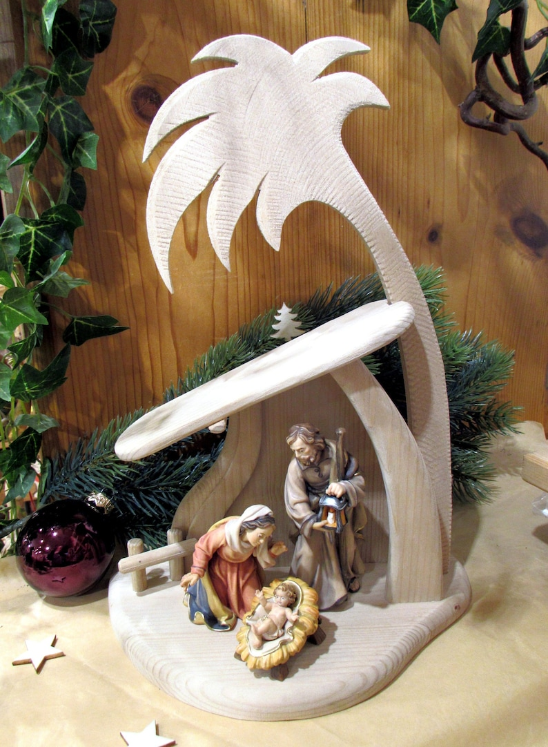 Christmas nativity scene nativity figures with stable wood Hl.Familie+Stall