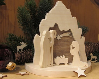 Wood Nativity Scene Modern Nativity Scene Holy Family Sawing