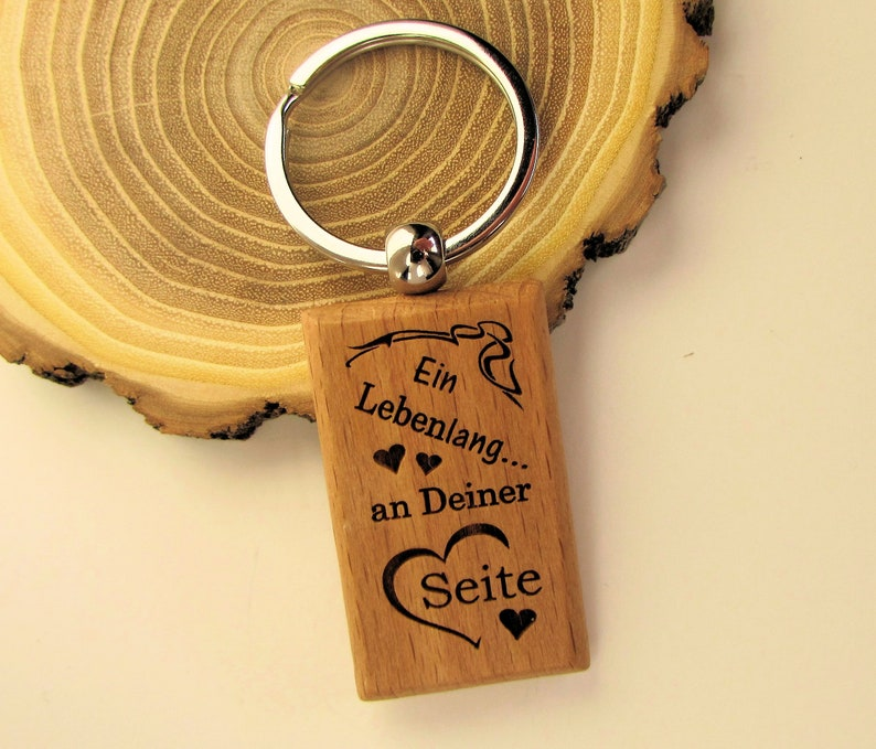 Keychain Wood A Lifetime at Your Side Valentine's Day image 0