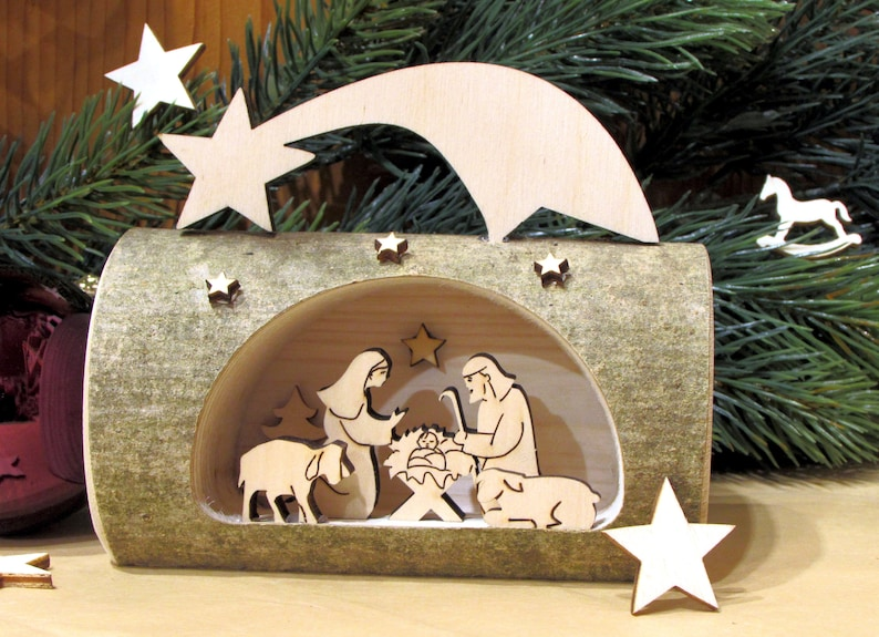 Natural wood Christmas crib nativity scene in branch wood image 0