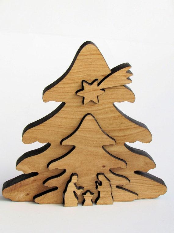 X10 lasercut Madera Formas De Madera De Árbol De Navidad Forma 10,5 cm