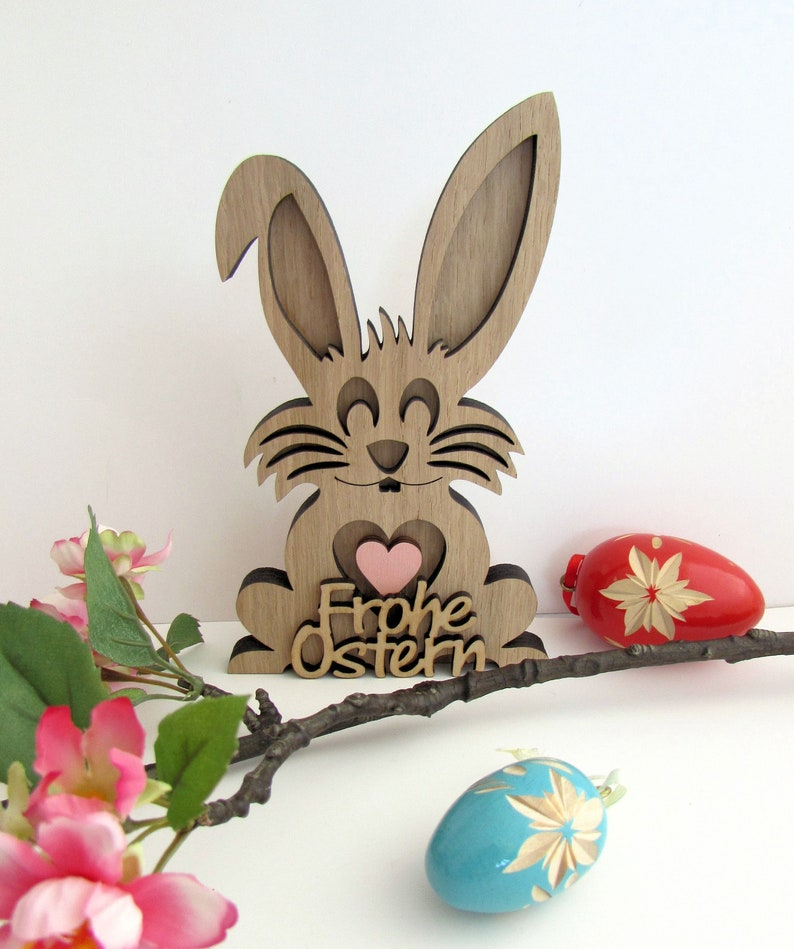 Easter Bunny Easter Deco Hare Wood HaseHerzRosaFroheOst
