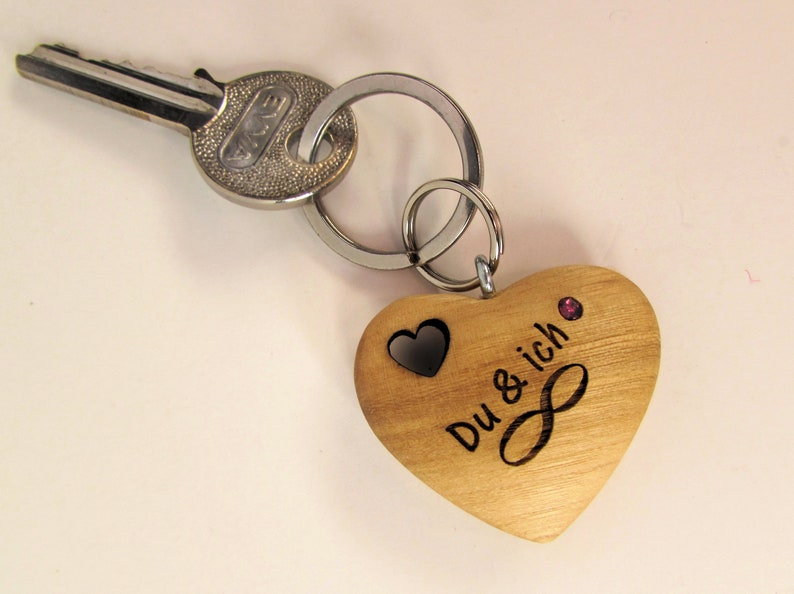 Keychain Wood Heart You & I Forever Valentine's Day image 0