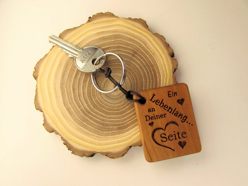 Wooden Keychain A Lifetime at Your Side Valentine's Day image 0