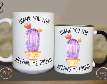 Thank You For Helping Me Grow, Day Care Provider, Pre K Teacher, Preschool, Mug for Daycare Teacher, Teacher Appreciation, Child Care