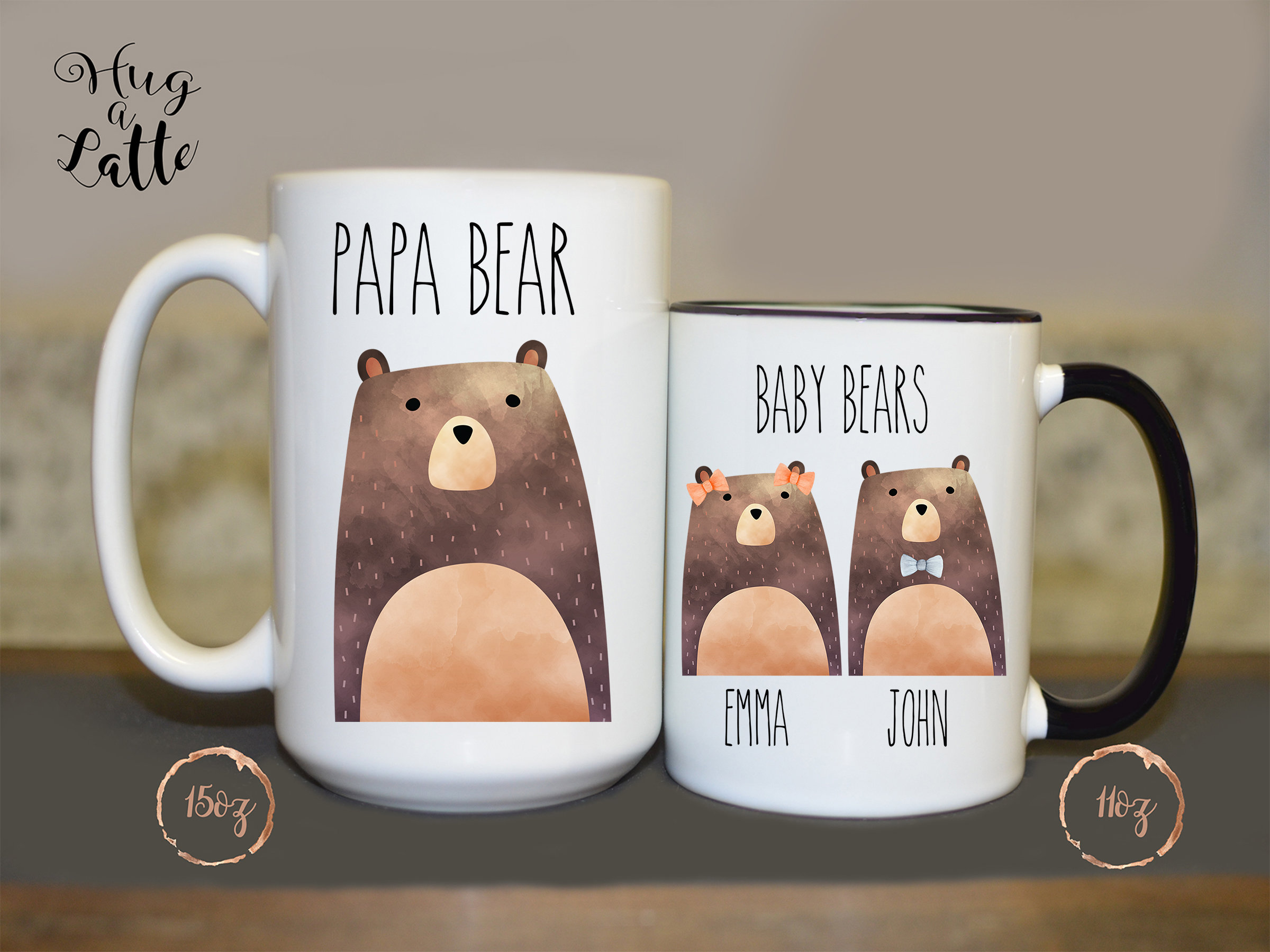 Papa Bear Mug Fathers Day Gift Personalized Father Gift Dad Birthday Present