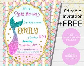 Mermaid Invitation Etsy