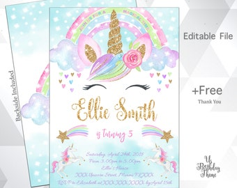 Glitter Unicorn Invitation Birthday Magical Digital File