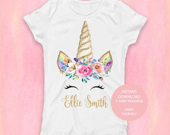 6e928a02f Unicorn T-Shirt File , Unicorn Birthday Girl T-Shirt Transfer, PRINT Unicorn  Birthday Party, Magical Unicorn Party