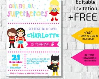 Superhero Birthday Invitation Etsy