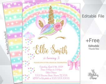 Unicorn Invitation Birthday Glitter Magical Digital File