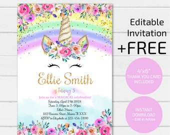 Rainbow Unicorn Invitation Birthday Glitter Magical Digital File