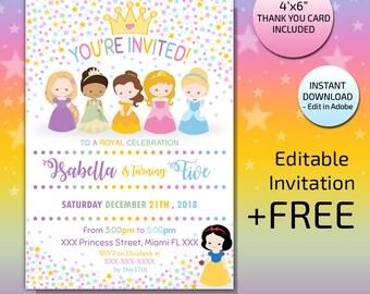 princess invitation instant download princess party invitation