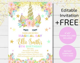 Magical Unicorn Invitation Birthday Glitter Digital File