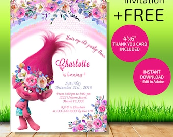 Trolls Birthday Invitation Instant