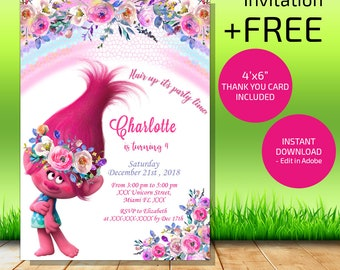 Trolls Birthday Invitation Instant Download Party Invites