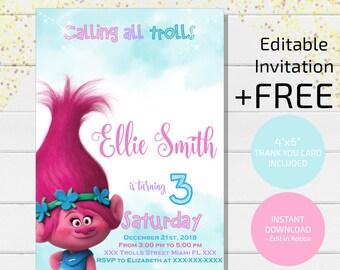 Trolls Birthday Invitation Instant Download Party Invites