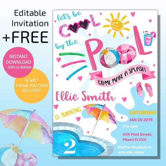 Pool Party Invitation Swimming Birthday Instant Download