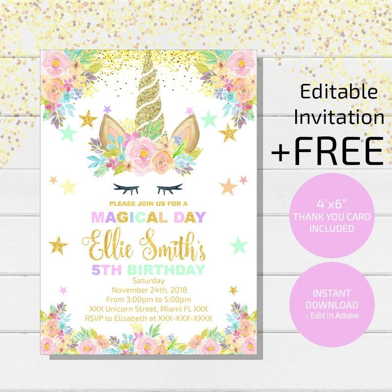 Magical Unicorn Invitation Birthday