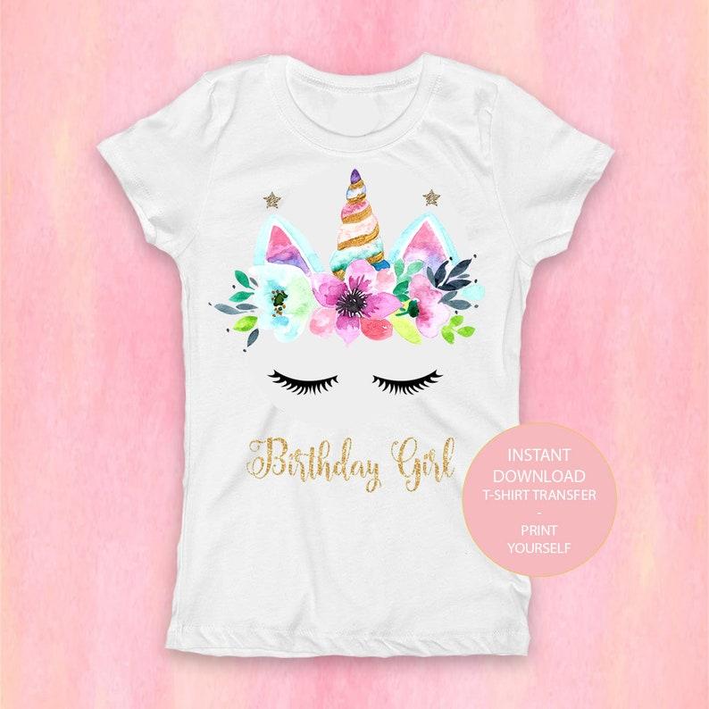 af6068f2a Unicorn Shirt Digital Unicorn Birthday Girl T-Shirt Transfer   Etsy
