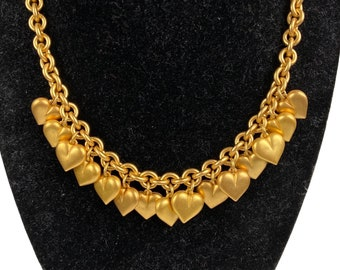 """Ann Klein Brushed Gold Tone Puffy Heart Loaded Charm Choker Necklace Chunky Chain Toggle Clasp Lion Face logo Signed 1980s 17"""" Romantic"""