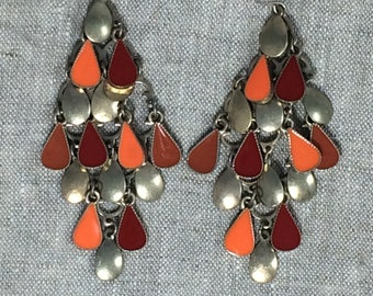 Vintage Red Orange Chandelier Earrings Dangle Earrings Long Earrings Statement Earrings 60s Earrings MOD