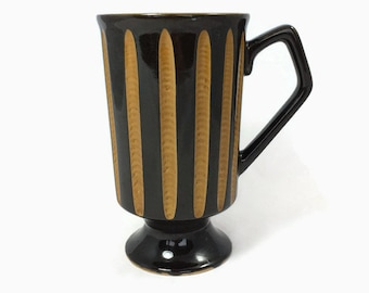 Vintage Mug Footed Coffee Cup Retro 1970s Harvest Gold Stripes Square Shape Handle Masculine